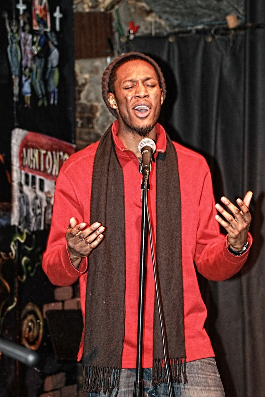 """Kojo Stone performing """"Drinking Blues"""" at Lyrics First on March 2."""