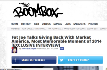 Fat Joe Talks Giving Back With Market America, Most Memorable Moment of 2014 [EXCLUSIVE INTERVIEW] Read More: Fat Joe Talks Market America, Memorable Moment of 2014